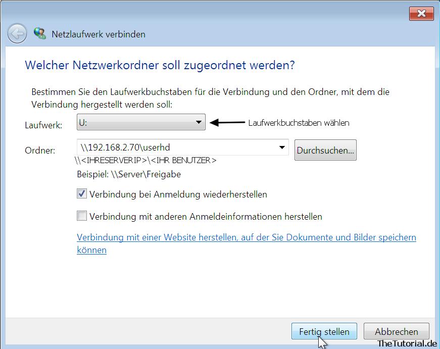 Netzwerklaufwerk hinzufuegen